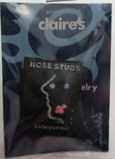 o s cross crystal blue 3 NOSE STUD body jewelry surgical steel Claire's