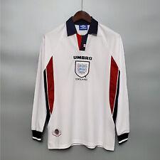 1998 England Home Long sleeve Retro Jersey Tshirt Soccer Sport Vintage