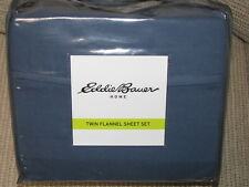 Eddie Bauer Flannel Sheet Set Twin Solid Dusted Indigo