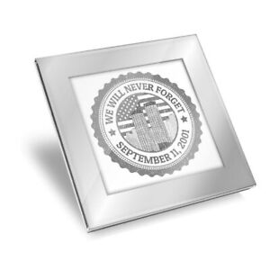 Silver Glass Coaster - BW - Never Forget September 11th USA America  #41875