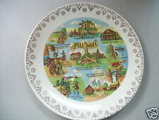 Illinois 7' Collector Plate With Cities Gold Decorated.
