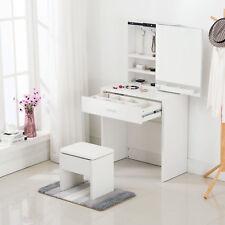 Vanity Dressing Desk Makeup Table Set with Stool Mirror Cabinet & Drawer Storage