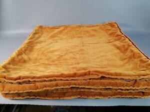 Vintage set of 4 mustard gold velvet draylon cushion covers 17 inch retro mcm