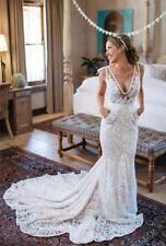 UK Vintage White Lace Sleeveless V Neck Mermaid Beach Wedding Dresses Size 8