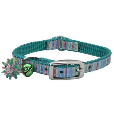 "COASTAL SAFE CAT LIL PALS GREEN RIBBON BOW BELL 6-8"" COLLAR. FREE SHIP TO USA"