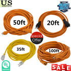 20FT-100FT extension cord power cable 3 outlet indoor/outdoor 16 gauge ul listed