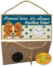 Papillon (red)  CLOCK-Around here it's always--Time-Hang or Easel Back