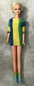 Vintage 1967 Barbie TNT Twiggy Doll #1185 Original Dress Platinum Blonde
