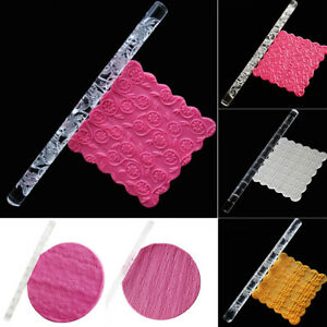 Christmas Acrylic Flower Rolling Pin Xmas Embossing Wave Texture Fondant Tool