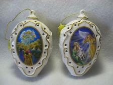 Danbury Mint 2 Nativity Illuminated Ornaments Angel of Joy & Angel of the Land