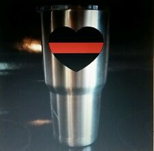 Custom thin red line fire fighter support heart Decal Sticker Yeti Sized Gift