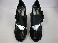 White House/Black Market Emilia Black Tassel Leather peep toe high heels sz. 10