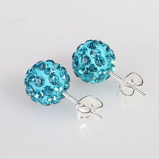 Disco Ball Beads Pave Crystal Rhinestones Ear Stud Earrings Colourful Wholesale