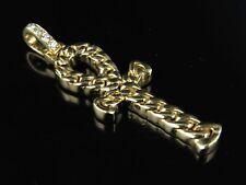 "Men's 14K Yellow Gold Miami Cuban Cross Genuine Diamond Pendant Charm .09ct 1.4"""