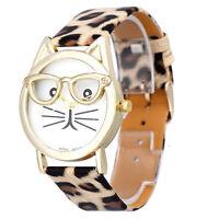 Women Girls Cute Glasses Cat Leather Analog Quartz Dial Wrist Watch Xmas Gift