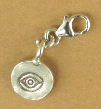 Scheibe mit Auge Design Clip-On Charm. Tribal. Handarbeit. Sterlingsilber 925.