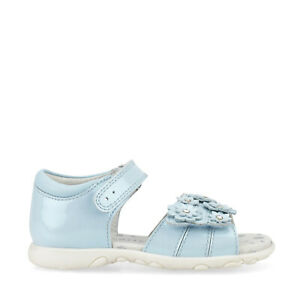 Start-Rite Bloom, Blue Glitter Patent/Leather Girls Riptape First Walking Sandal