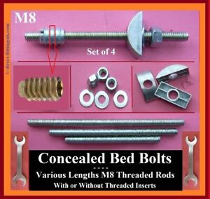 Concealed M8 bed bolts REPLACEMENT Kit Half Moon/Crescent/ WITH 30mm INSERT NUTS