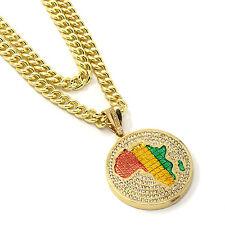 "Mens Gold Plated Rasta Africa Pendant Hip Hop 30"" & 36"" Cuban Chain 3Pc Set"