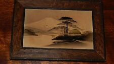 Antique Japanese Wood Block Painting (or Print), Early Village and Mt. Fuji.