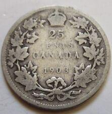 1903 Canada Silver Twenty-Five Cents Coin. QUARTER (RJ536)