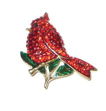 Cardinal Bird Pin Red Crystals Gold Tone Branch Perched Animals New Jewelry