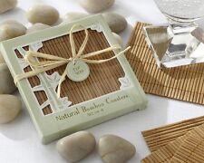 Bamboo Eco-Friendly Coasters Set Wedding Favors Natural - FIVE sets (20 pieces)