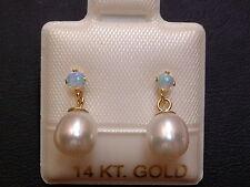 Opal & Perlen Ohrstecker Ohrringe - 14 Kt. Gold - 585 - sehr edel !
