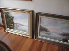 PAIR VINTAGE AUSTRALIAN SYDNEY LANDSCAPES OIL PAINTINGS