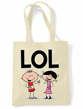 LOL spalla \ Tote Bag-Ridere a Loud Divertente testo lingua Facebook Twitter