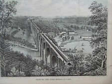 Antique *VIEW OF THE HIGH BRIDGE New York 1861* Lithograph- G. Hayward 1800-1872