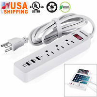 6FT 3 USB 3 Outlet Socket Power Strip Surge Protector Charger Lightningproof USA