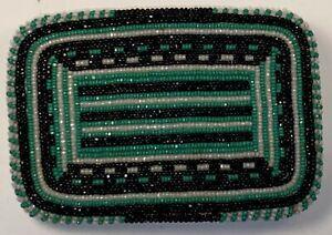 Native American Shoshone Green Black and White Beaded Belt Buckle
