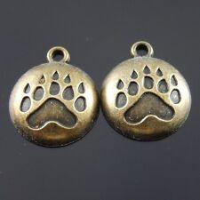 36597 Antiqued Bronze Vintage Alloy Round Bear Paw Print Pendant Charm 40pcs