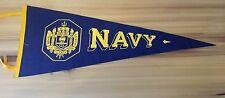 Vintage Navy Pennant,Felt,Wool,US Naval Academy,Blue,Goat,Football,