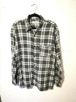 Vintage L M 100% Cotton Check Plaid Flannel Shirt Pastel Blue White Grey Worn