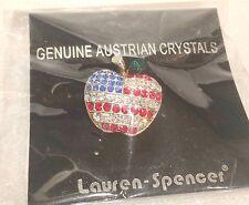 Lauren-Spencer Genuine Austrian Crystals Patriotic Apple Pin Still Sealed In Pkg