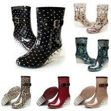 Womens Dot Mid-Calf Rain  Boots Ladies Wedge High Heels Shoes Waterproof Slip on