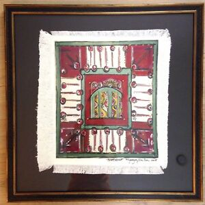"2014 Framed Barcelona Fabric Canvas Art Artist Signed Macaya La Da 26x26"""