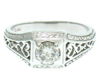 Vintage 14k White Gold Etched Open Filigree Work 0.51ct Diamond Solitaire Ring