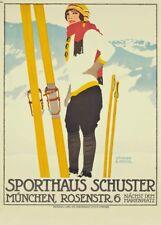 Vintage Ski Posters SPORTHAUS SCHUSTER, MUNCHEN, Germany, 1913, Travel Print