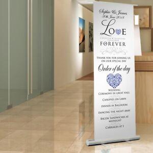 Love themed WEDDING SIGN - Pop Up Roller Sign. WEDDING RECEPTION DECORATION