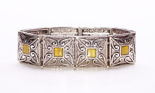 SILVER METAL SQUARE BEAD BRACELET WITH YELLOW WINDOW AND HEART INDENTATION(ZX38)