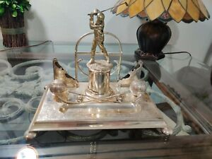 Antique Golfer Silver plate Inkwell Desk Stand