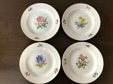 4x Kuchenteller 19cm Meissen Porzellan Dessert-Teller Blume 3 Goldrand 邁森 1960er