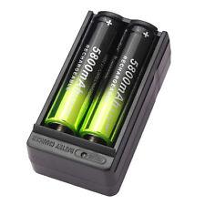 2X SKYWOLFEYE 5800mAh Li-ion 18650 3.7V Rechargeable Battery + Dual Charger USA