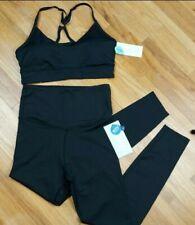 Marika Yoga Set Sports Bra(L) Leggings(M) Black Sparkle Women's High Waisted NEW