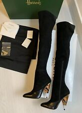 Givenchy Over The Knee Suede High Black Boots Flag Heel Runway Sz 38.5 39 NEW!