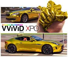 "3ft x 60"" Gold supercast chrome vinyl car wrap DIY sheet roll film sticker decal"