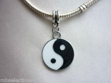 Yin Yang Black and White Enamel Necklace Pendant Charm